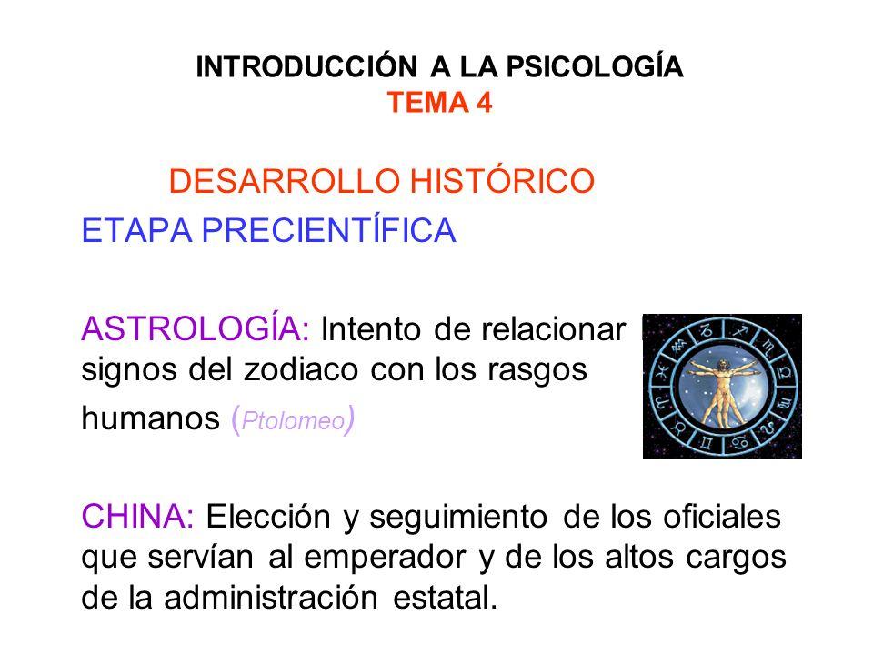 INTRODUCCIÓN A LA PSICOLOGÍA TEMA 4 DESARROLLO HISTÓRICO ETAPA PRECIENTÍFICA ASTROLOGÍA: Intento de relacionar los los signos del zodiaco con los rasg
