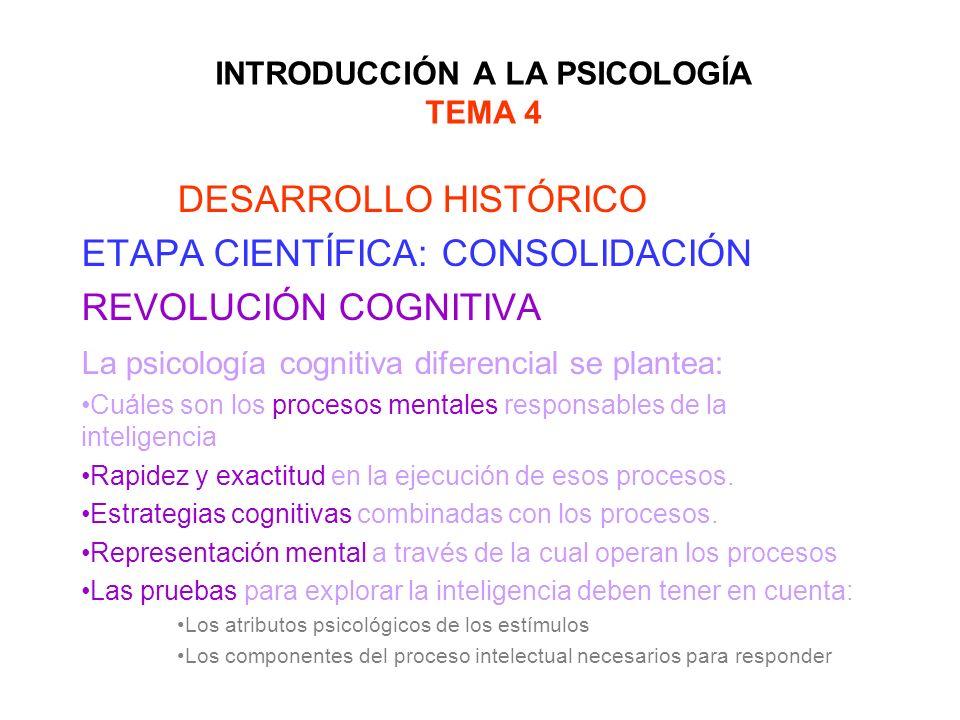 INTRODUCCIÓN A LA PSICOLOGÍA TEMA 4 DESARROLLO HISTÓRICO ETAPA CIENTÍFICA: CONSOLIDACIÓN REVOLUCIÓN COGNITIVA La psicología cognitiva diferencial se p