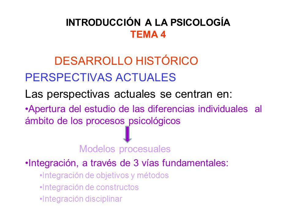 INTRODUCCIÓN A LA PSICOLOGÍA TEMA 4 DESARROLLO HISTÓRICO PERSPECTIVAS ACTUALES Las perspectivas actuales se centran en: Apertura del estudio de las di