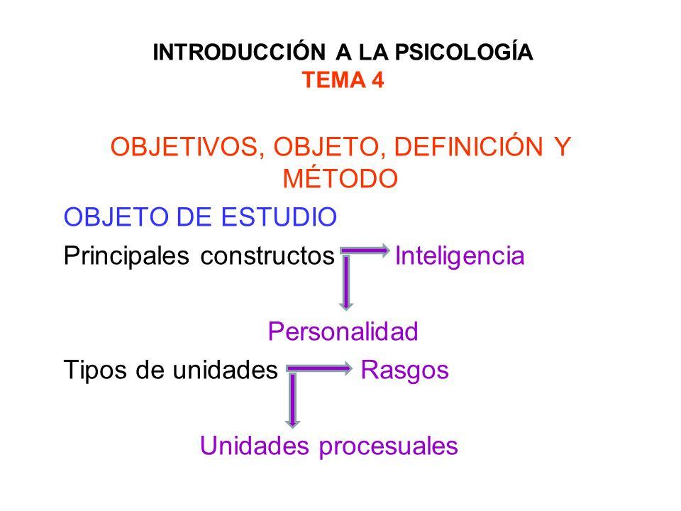 INTRODUCCIÓN A LA PSICOLOGÍA TEMA 4 OBJETIVOS, OBJETO, DEFINICIÓN Y MÉTODO OBJETO DE ESTUDIO Principales constructos Inteligencia Personalidad Tipos d