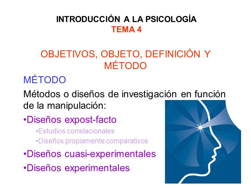 INTRODUCCIÓN A LA PSICOLOGÍA TEMA 4 OBJETIVOS, OBJETO, DEFINICIÓN Y MÉTODO MÉTODO Métodos o diseños de investigación en función de la manipulación: Di