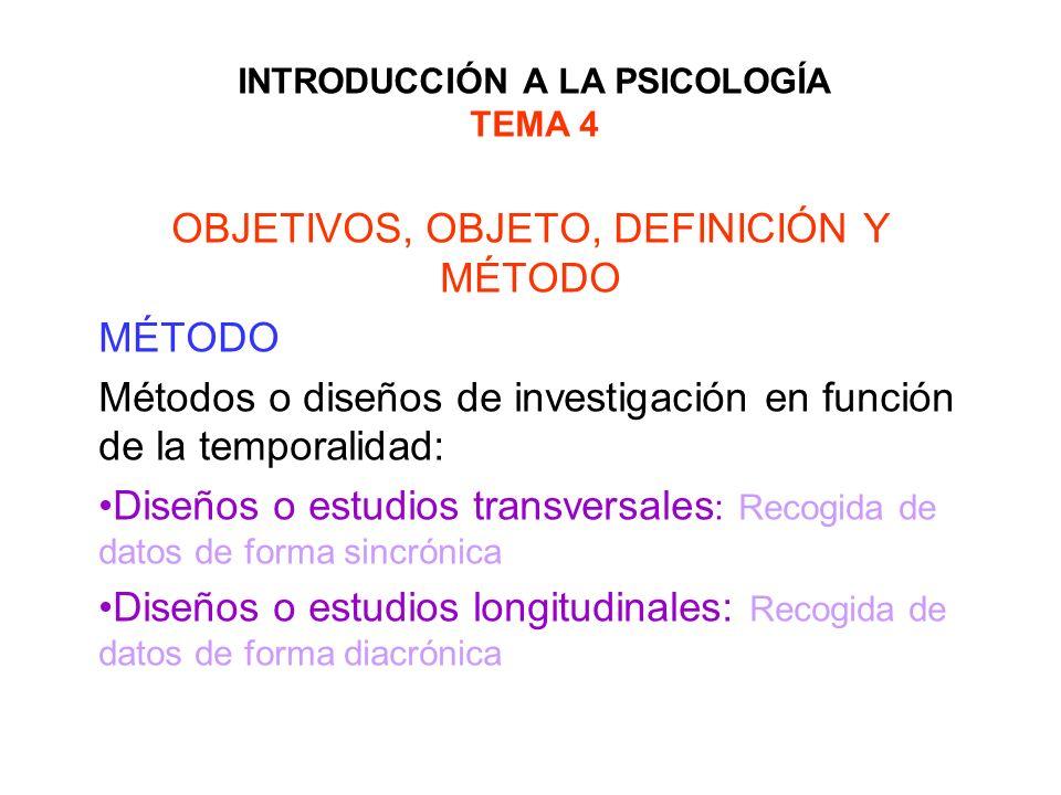 INTRODUCCIÓN A LA PSICOLOGÍA TEMA 4 OBJETIVOS, OBJETO, DEFINICIÓN Y MÉTODO MÉTODO Métodos o diseños de investigación en función de la temporalidad: Di