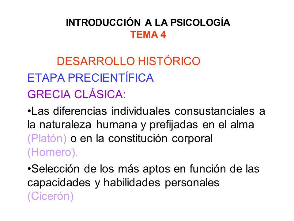 INTRODUCCIÓN A LA PSICOLOGÍA TEMA 4 DESARROLLO HISTÓRICO ETAPA PRECIENTÍFICA GRECIA CLÁSICA: Primeros planteamientos de diferencias individuales en personalidad: Doctrina de los humores (Hipócrates).