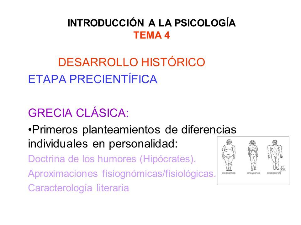 INTRODUCCIÓN A LA PSICOLOGÍA TEMA 4 DESARROLLO HISTÓRICO ETAPA CIENTÍFICA: CONSOLIDACIÓN EL PAPEL DE ESCUELAS LOS PSICÓLOGOS EUROPEOS LA ESCUELA ALEMANA: STERN Identidad de la psicología diferencial como disciplina Orientación transaccional biología y ambiente en individualización Padre del concepto rasgo Reformula la relación entre edad mental y cronológica : Cociente mental= Em/Ec Interrelación psicología diferencial y aplicada: Psicotecnia