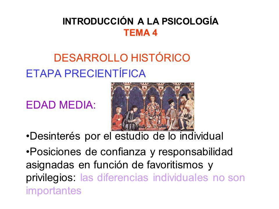 INTRODUCCIÓN A LA PSICOLOGÍA TEMA 4 DESARROLLO HISTÓRICO ETAPA PRECIENTÍFICA EDAD MEDIA: Desinterés por el estudio de lo individual Posiciones de conf