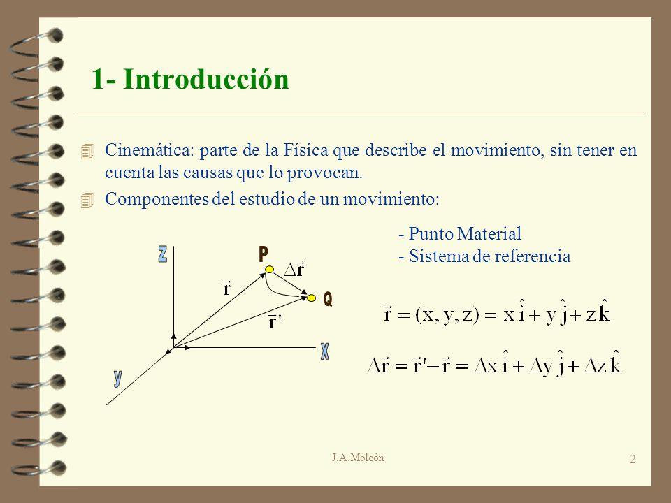 J.A.Moleón 3 1- Introducción 4 Trayectoria de un movimiento: definida por las ecuaciones paramétricas:x = x(t); y = y(t); z = z(t); 4 Ecuación Vectorial del Movimiento 4 Si la velocidad no es constante: 4 Siendo t el tiempo en que se produce el desplazamiento r: