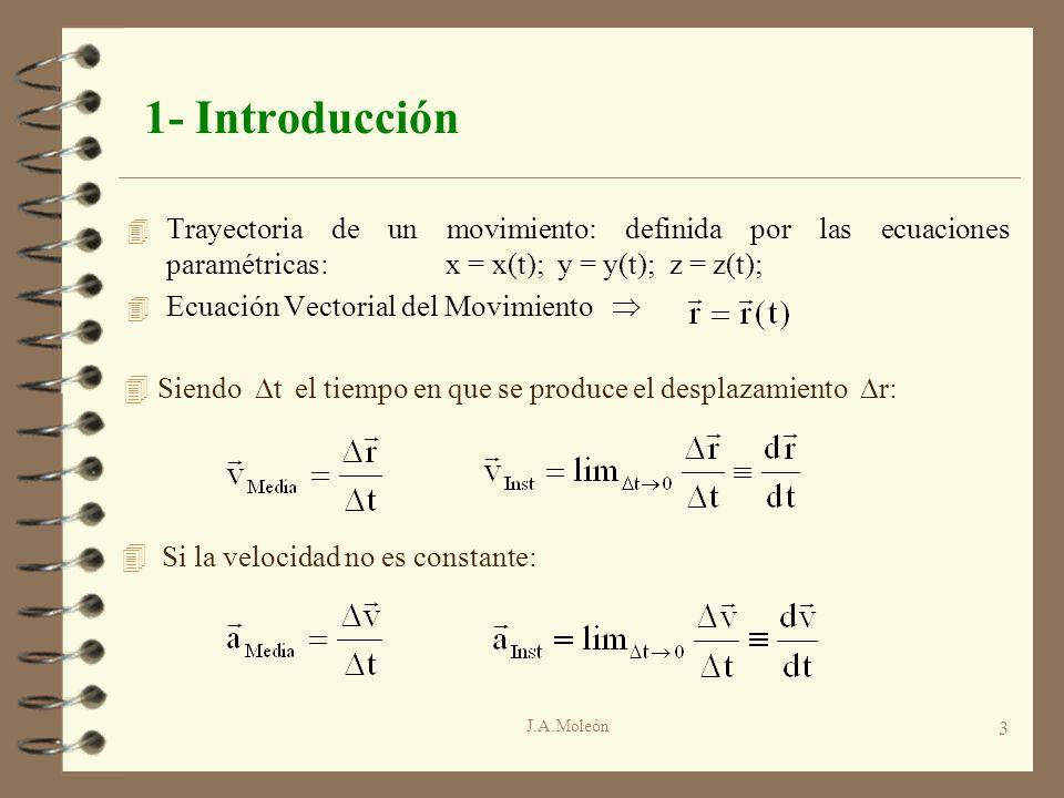 J.A.Moleón 3 1- Introducción 4 Trayectoria de un movimiento: definida por las ecuaciones paramétricas:x = x(t); y = y(t); z = z(t); 4 Ecuación Vectori