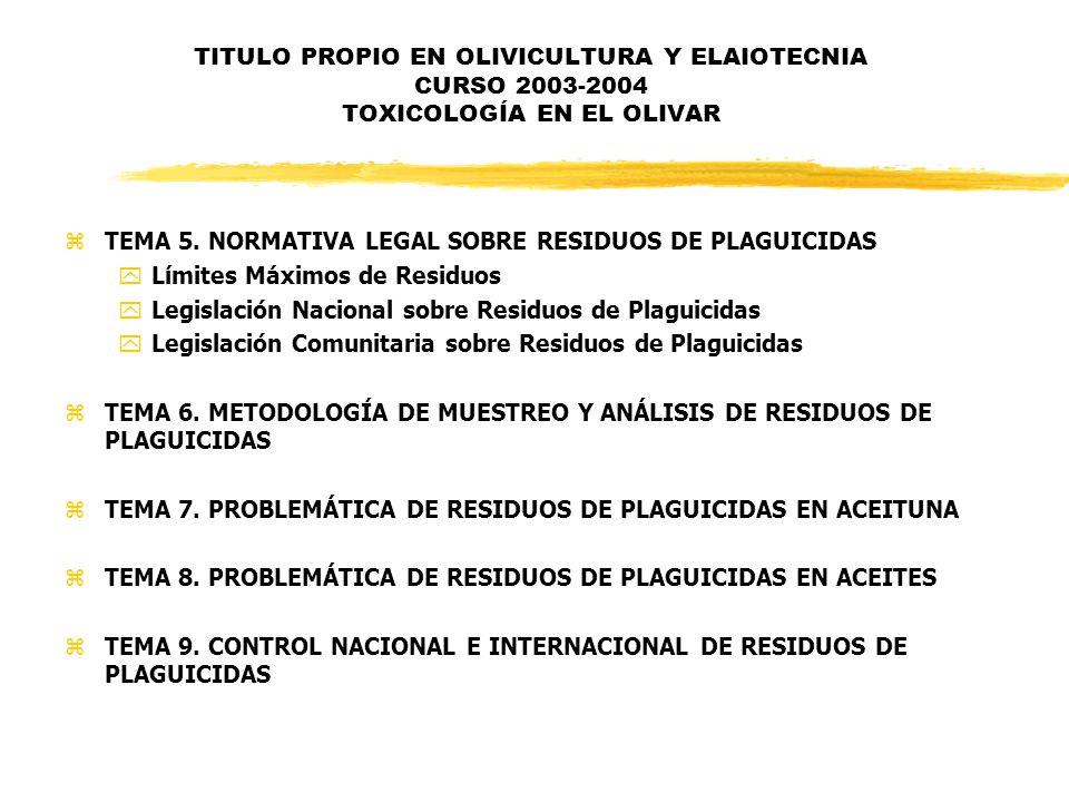 TITULO PROPIO EN OLIVICULTURA Y ELAIOTECNIA CURSO 2003-2004 TOXICOLOGÍA EN EL OLIVAR zTEMA 5. NORMATIVA LEGAL SOBRE RESIDUOS DE PLAGUICIDAS yLímites M