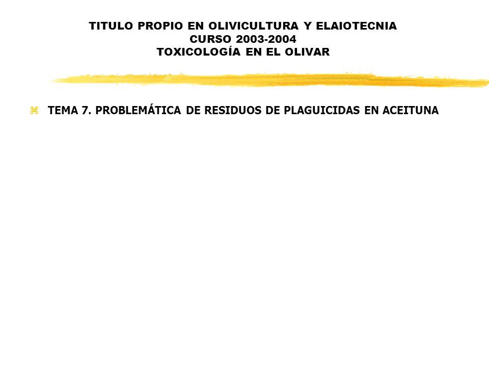 TITULO PROPIO EN OLIVICULTURA Y ELAIOTECNIA CURSO 2003-2004 TOXICOLOGÍA EN EL OLIVAR zTEMA 7. PROBLEMÁTICA DE RESIDUOS DE PLAGUICIDAS EN ACEITUNA
