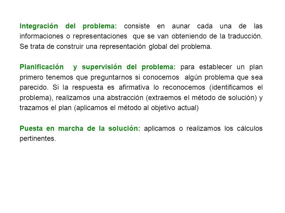 Integración del problema: consiste en aunar cada una de las informaciones o representaciones que se van obteniendo de la traducción. Se trata de const