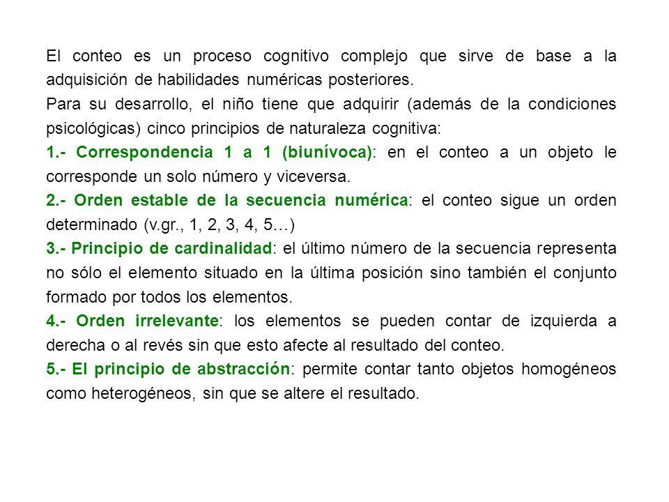 Además de los principios, para el conteo es necesario: a.- percibir visualmente una cantidad.