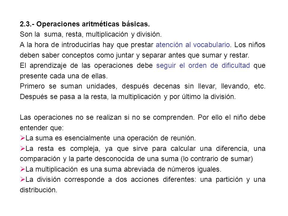 2.3.- Operaciones aritméticas básicas. Son la suma, resta, multiplicación y división. A la hora de introducirlas hay que prestar atención al vocabular