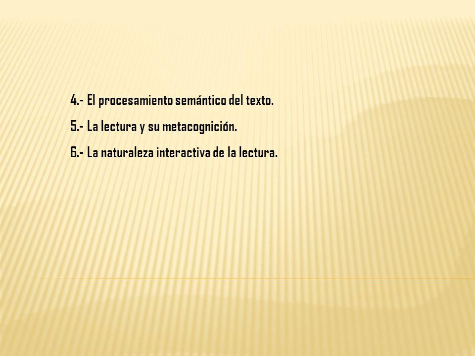 4.- El procesamiento semántico del texto. 5.- La lectura y su metacognición. 6.- La naturaleza interactiva de la lectura.