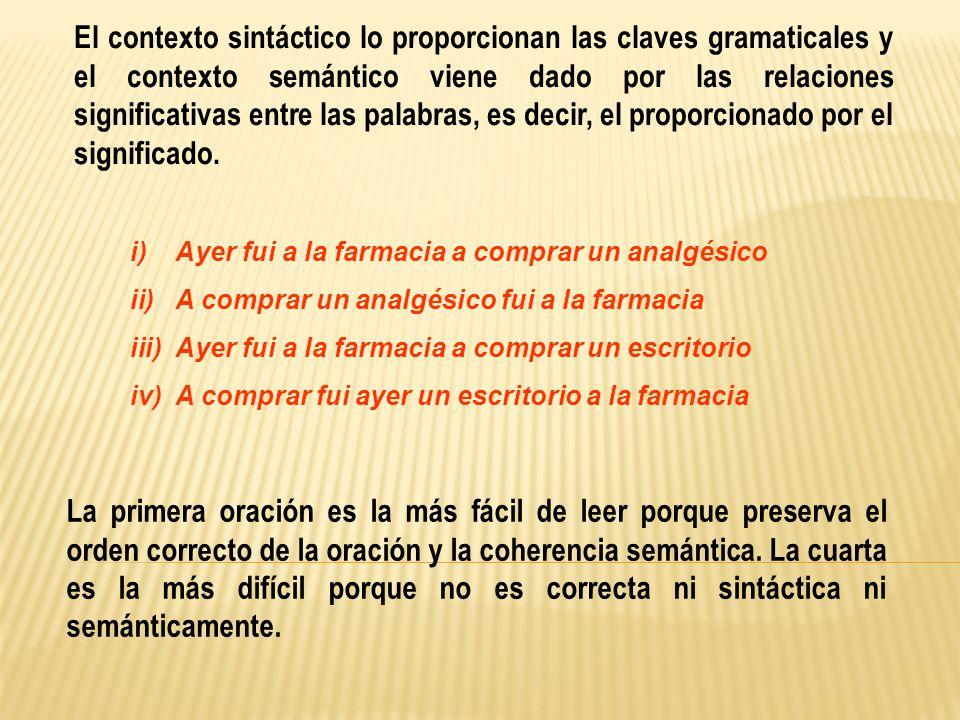 El contexto sintáctico lo proporcionan las claves gramaticales y el contexto semántico viene dado por las relaciones significativas entre las palabras