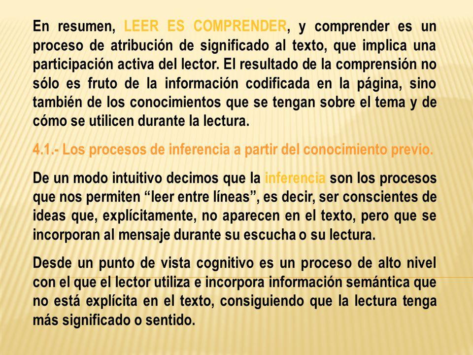 En resumen, LEER ES COMPRENDER, y comprender es un proceso de atribución de significado al texto, que implica una participación activa del lector. El