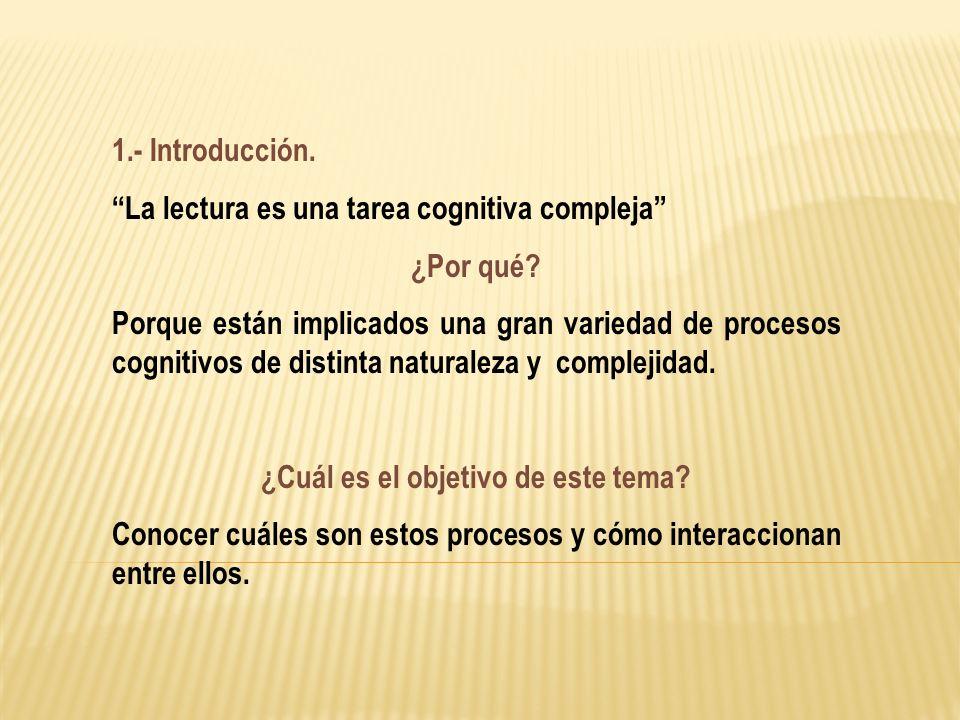 1.- Introducción. La lectura es una tarea cognitiva compleja ¿Por qué? Porque están implicados una gran variedad de procesos cognitivos de distinta na