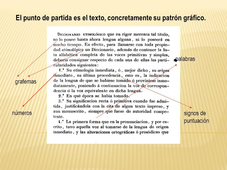 grafemas signos de puntuación palabras El punto de partida es el texto, concretamente su patrón gráfico. números