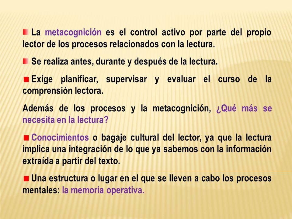La metacognición es el control activo por parte del propio lector de los procesos relacionados con la lectura. Se realiza antes, durante y después de