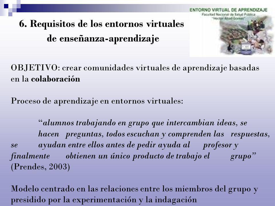 6. Requisitos de los entornos virtuales de enseñanza-aprendizaje OBJETIVO: crear comunidades virtuales de aprendizaje basadas en la colaboración Proce