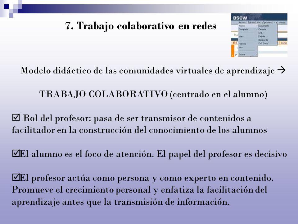 7. Trabajo colaborativo en redes Modelo didáctico de las comunidades virtuales de aprendizaje TRABAJO COLABORATIVO (centrado en el alumno) Rol del pro