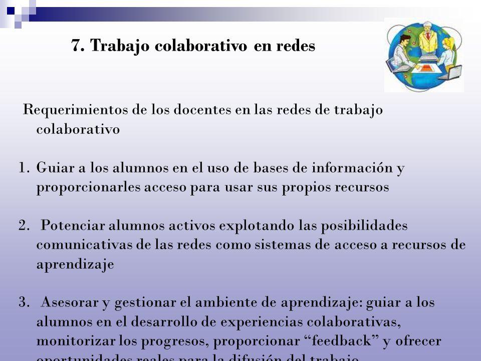 Requerimientos de los docentes en las redes de trabajo colaborativo 1.Guiar a los alumnos en el uso de bases de información y proporcionarles acceso p