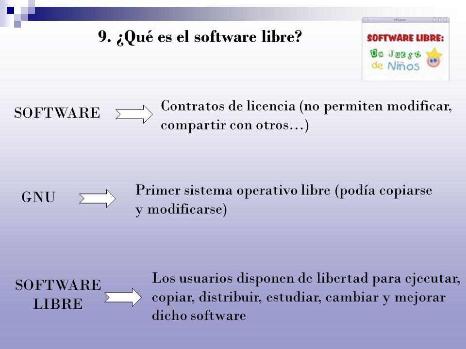 9. ¿Qué es el software libre? SOFTWARE Contratos de licencia (no permiten modificar, compartir con otros…) GNU Primer sistema operativo libre (podía c