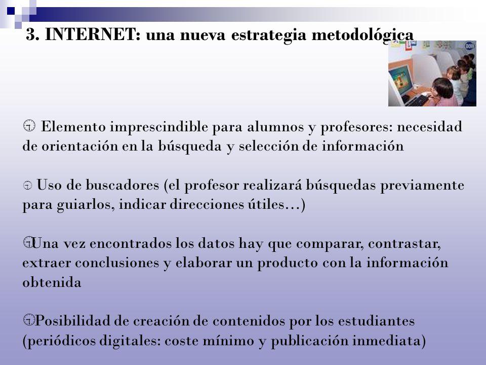 3. INTERNET: una nueva estrategia metodológica Elemento imprescindible para alumnos y profesores: necesidad de orientación en la búsqueda y selección