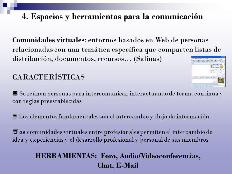 4. Espacios y herramientas para la comunicación Comunidades virtuales: entornos basados en Web de personas relacionadas con una temática específica qu