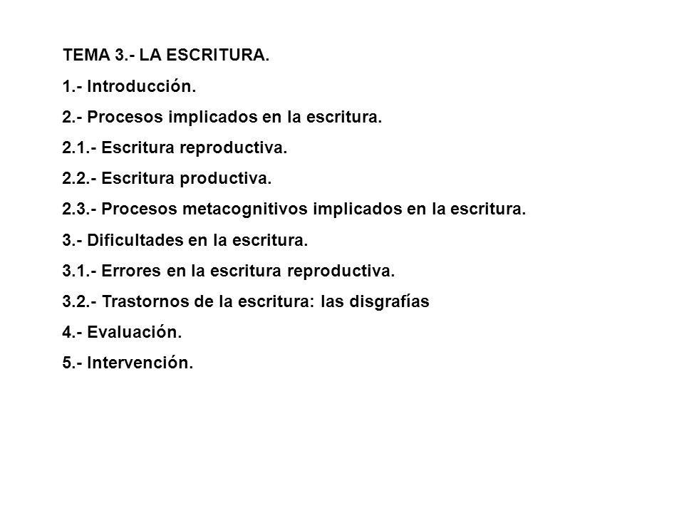 TEMA 3.- LA ESCRITURA. 1.- Introducción. 2.- Procesos implicados en la escritura. 2.1.- Escritura reproductiva. 2.2.- Escritura productiva. 2.3.- Proc