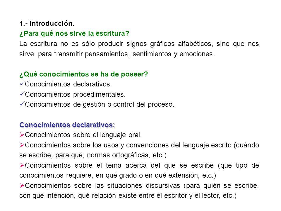 1.- Introducción. ¿Para qué nos sirve la escritura? La escritura no es sólo producir signos gráficos alfabéticos, sino que nos sirve para transmitir p