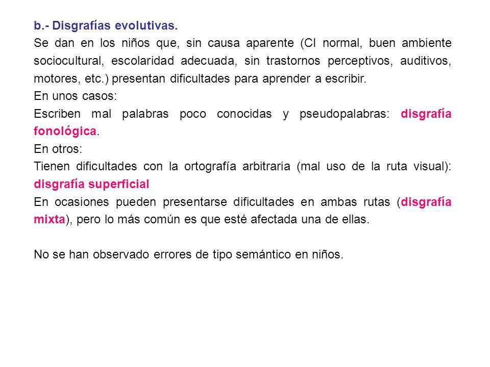 b.- Disgrafías evolutivas. Se dan en los niños que, sin causa aparente (CI normal, buen ambiente sociocultural, escolaridad adecuada, sin trastornos p