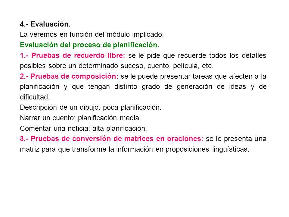 4.- Evaluación. La veremos en función del módulo implicado: Evaluación del proceso de planificación. 1.- Pruebas de recuerdo libre: se le pide que rec