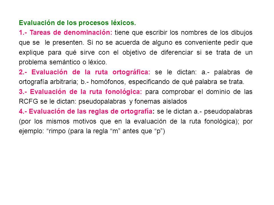 Evaluación de los procesos léxicos. 1.- Tareas de denominación: tiene que escribir los nombres de los dibujos que se le presenten. Si no se acuerda de