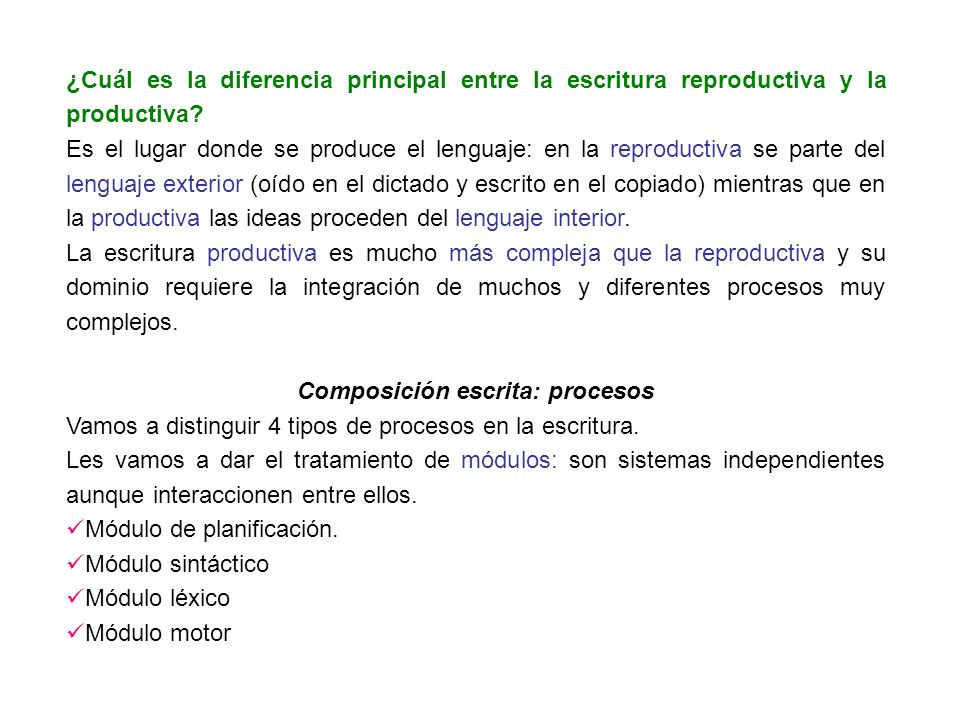 ¿Cuál es la diferencia principal entre la escritura reproductiva y la productiva? Es el lugar donde se produce el lenguaje: en la reproductiva se part