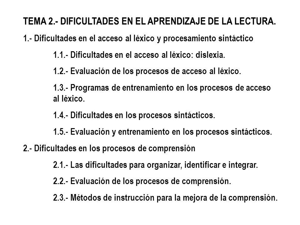 TEMA 2.- DIFICULTADES EN EL APRENDIZAJE DE LA LECTURA. 1.- Dificultades en el acceso al léxico y procesamiento sintáctico 1.1.- Dificultades en el acc