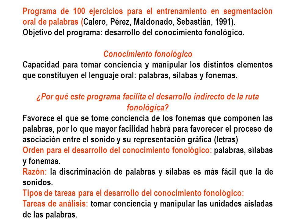Programa de 100 ejercicios para el entrenamiento en segmentación oral de palabras (Calero, Pérez, Maldonado, Sebastián, 1991). Objetivo del programa: