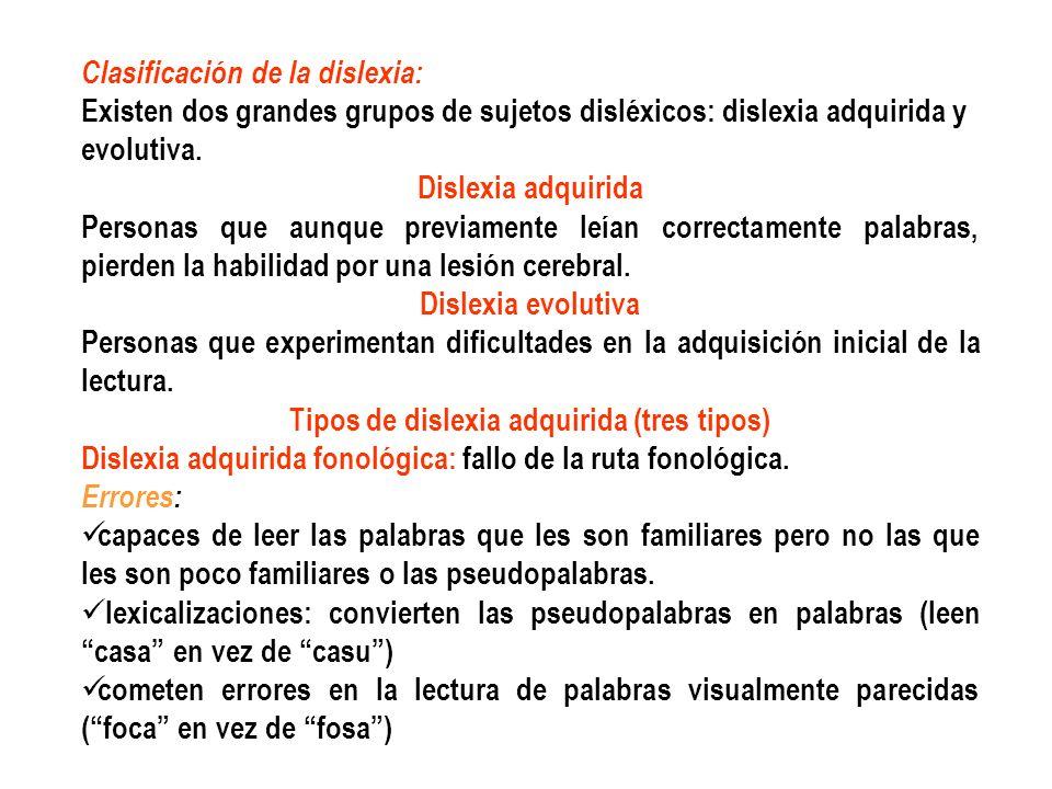 Clasificación de la dislexia: Existen dos grandes grupos de sujetos disléxicos: dislexia adquirida y evolutiva. Dislexia adquirida Personas que aunque