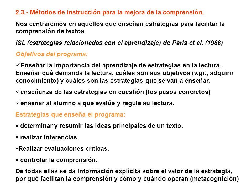 2.3.- Métodos de instrucción para la mejora de la comprensión. Nos centraremos en aquellos que enseñan estrategias para facilitar la comprensión de te