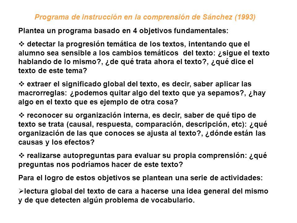 Programa de instrucción en la comprensión de Sánchez (1993) Plantea un programa basado en 4 objetivos fundamentales: detectar la progresión temática d