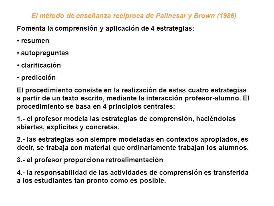El método de enseñanza recíproca de Palincsar y Brown (1986) Fomenta la comprensión y aplicación de 4 estrategias: resumen autopreguntas clarificación