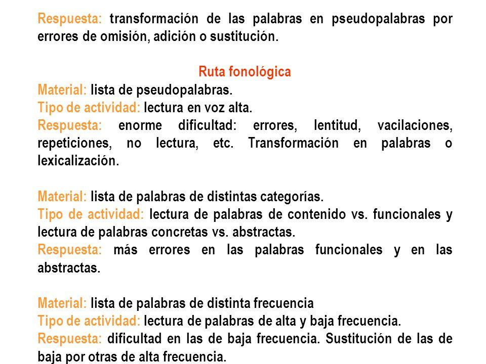 Respuesta: transformación de las palabras en pseudopalabras por errores de omisión, adición o sustitución. Ruta fonológica Material: lista de pseudopa