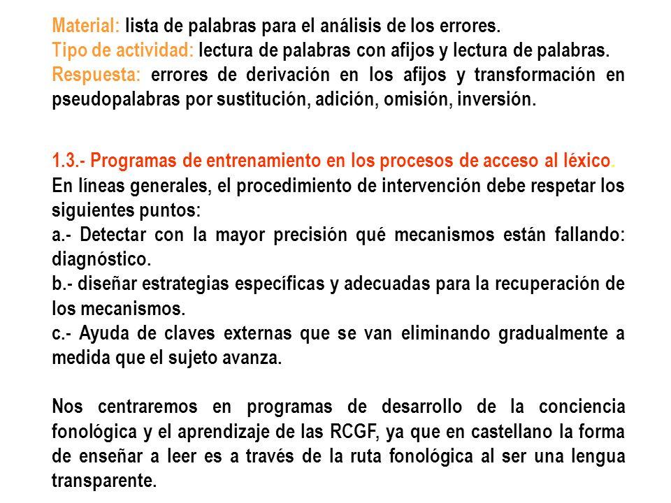 Programa de 100 ejercicios para el entrenamiento en segmentación oral de palabras (Calero, Pérez, Maldonado, Sebastián, 1991).