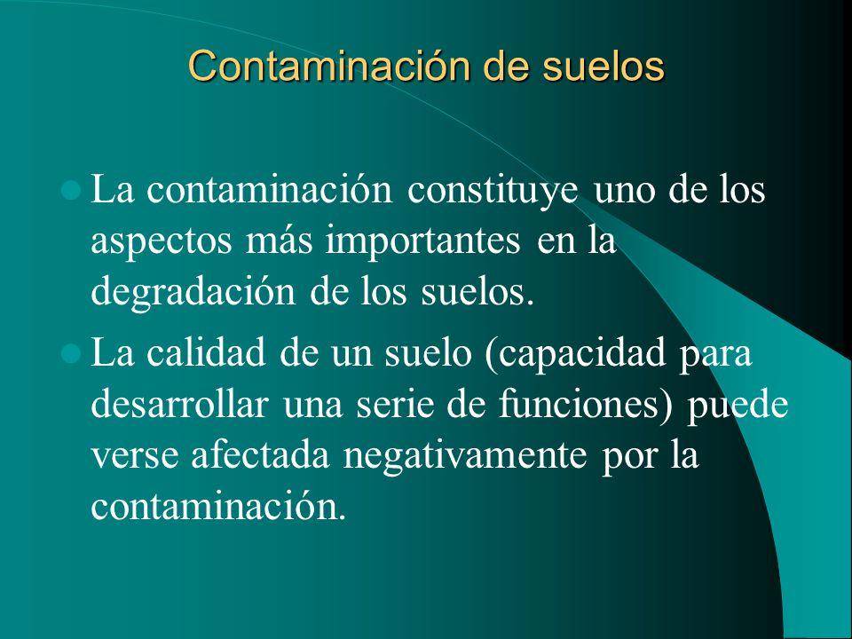 Contaminación de suelos La contaminación constituye uno de los aspectos más importantes en la degradación de los suelos. La calidad de un suelo (capac