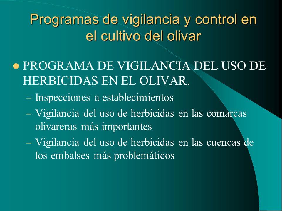 Programas de vigilancia y control en el cultivo del olivar PROGRAMA DE VIGILANCIA DEL USO DE HERBICIDAS EN EL OLIVAR. – Inspecciones a establecimiento