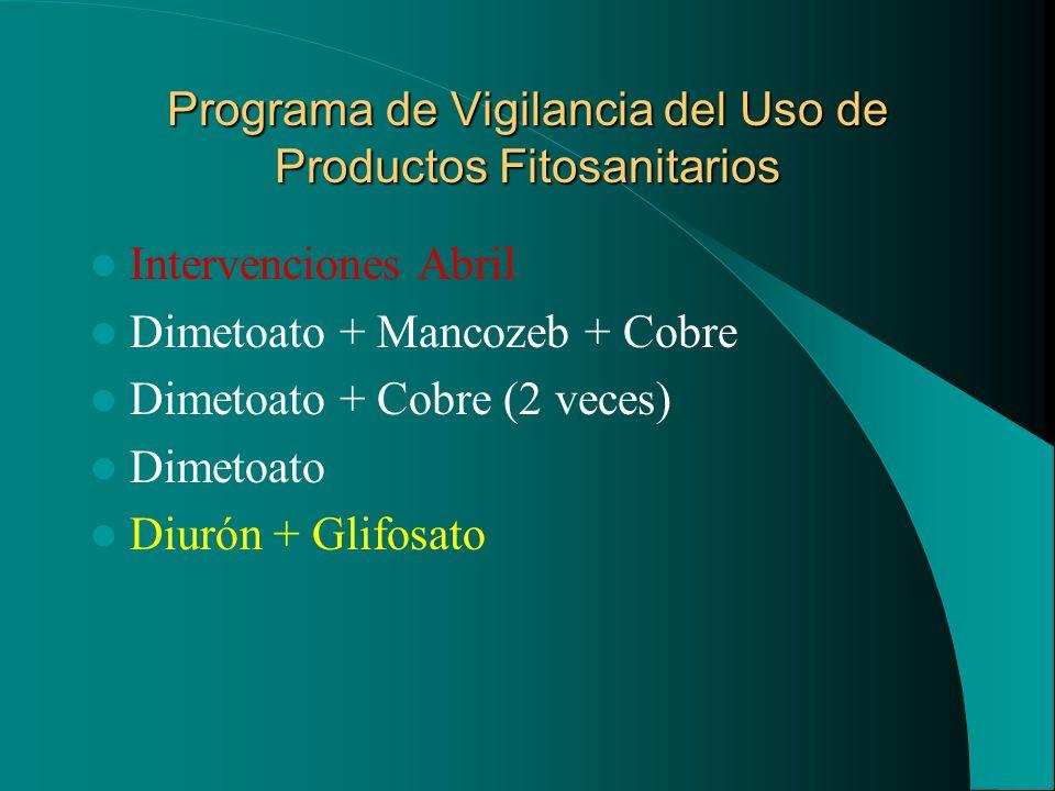 Programa de Vigilancia del Uso de Productos Fitosanitarios Intervenciones Abril Dimetoato + Mancozeb + Cobre Dimetoato + Cobre (2 veces) Dimetoato Diu