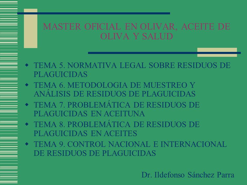 MASTER OFICIAL EN OLIVAR, ACEITE DE OLIVA Y SALUD Programa de revisión de sustancias activas de productos fitosanitarios (30/1/04) Incluidas en el Anexo I: Lambda-Cihalotrin, Esfenvalerato Excluidas del Anexo I: Fenvalerato, Lindano, Zineb, Metidation