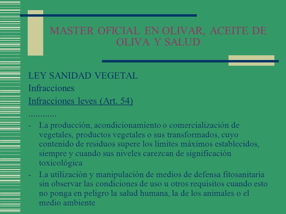 MASTER OFICIAL EN OLIVAR, ACEITE DE OLIVA Y SALUD LEY SANIDAD VEGETAL Infracciones Infracciones leves (Art. 54)............ -La producción, acondicion