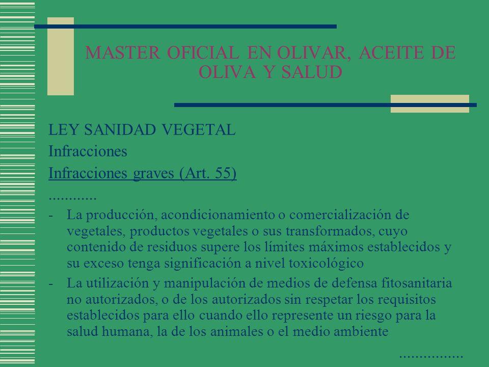 MASTER OFICIAL EN OLIVAR, ACEITE DE OLIVA Y SALUD LEY SANIDAD VEGETAL Infracciones Infracciones graves (Art. 55)............ -La producción, acondicio