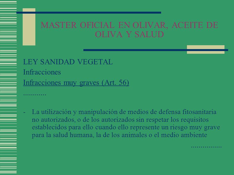 MASTER OFICIAL EN OLIVAR, ACEITE DE OLIVA Y SALUD LEY SANIDAD VEGETAL Infracciones Infracciones muy graves (Art. 56)............ -La utilización y man