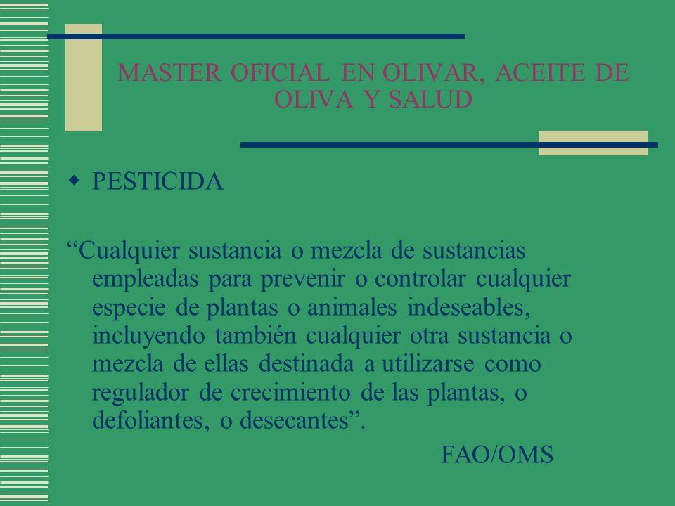 MASTER OFICIAL EN OLIVAR, ACEITE DE OLIVA Y SALUD PESTICIDA Cualquier sustancia o mezcla de sustancias empleadas para prevenir o controlar cualquier e